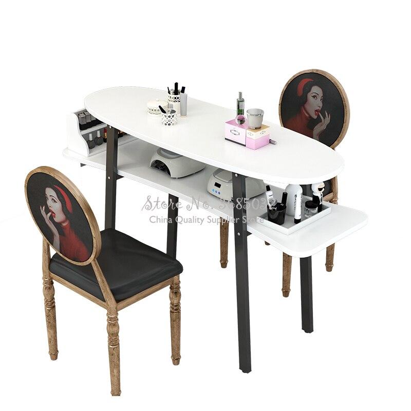 Nordic estilo Retro uñas Durable solo Manicura escritorio y silla para mobiliario salón Mesa Manicura de Manucure barato de Metal