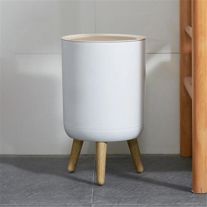 Trash Can Home Office Storage White Bucket Japanese Style Plastic Wood Bin enlarge