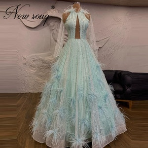 Exquisite Beading Prom Dresses 2021 Green Celebrity Dress Robe De Soiree Dubai Sequins Feather A Line Formal Gowns Custom Made