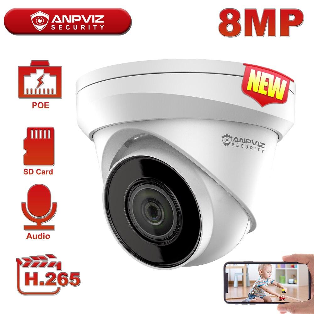 Anpviz 8MP 4K POE IP كاميرا للرؤية الليلية في الهواء الطلق 30m CCTV المراقبة بالفيديو Hikvision OEM IP67 دعم 256GB التخزين H.265 +