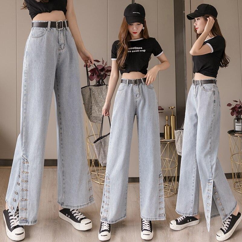 Лидер продаж 2021, Демисезонные женские джинсы, тонкие широкие джинсы с прямыми штанинами, тонкие универсальные модные джинсы с завышенной та...