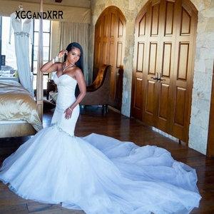 Romantic Mermaid Wedding Dress 2020 Bridal Gown Sweetheart Backless Beading Crystal Chapel Train Black Bride White Formal Wear