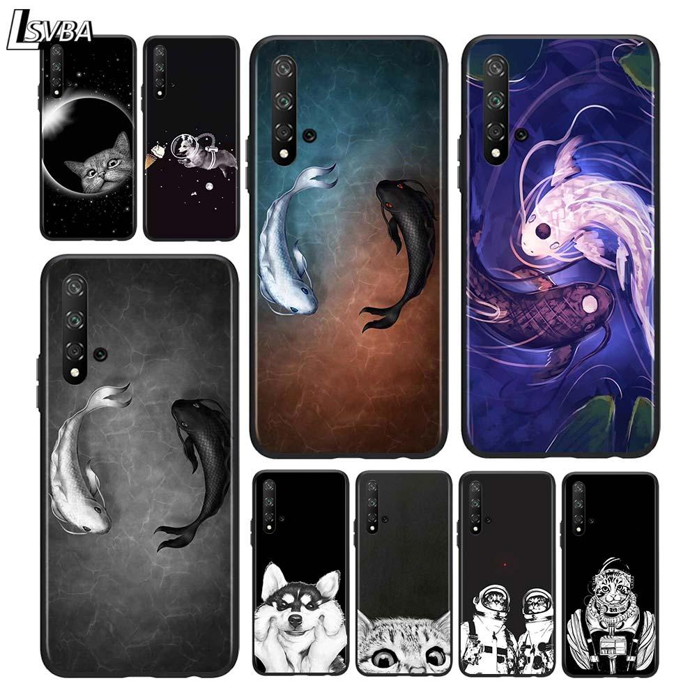 Funda de teléfono negra con dibujos de gatos y peces para Huawei Honor 9X Lite 8X 9S 9A 9C 30 20 10i 20 10 10i 9 Lite 8C 8A 7C 7A Pro