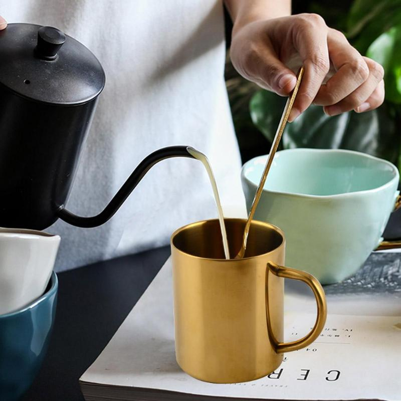 Taza de té agua café de acero inoxidable chapada en oro/latón taza de doble pared taza de doble capa diseño corporal considerado antiquemaduras