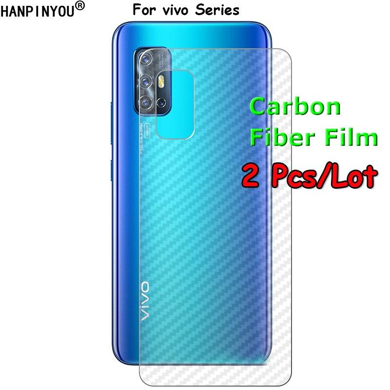 2 Pcs For vivo V19 V17 Y30 X50 iQOO Z1 Y70S Neo 855 Racing Plus Lite 3D Transparent Back Carbon Fiber Film Rear Screen Protector