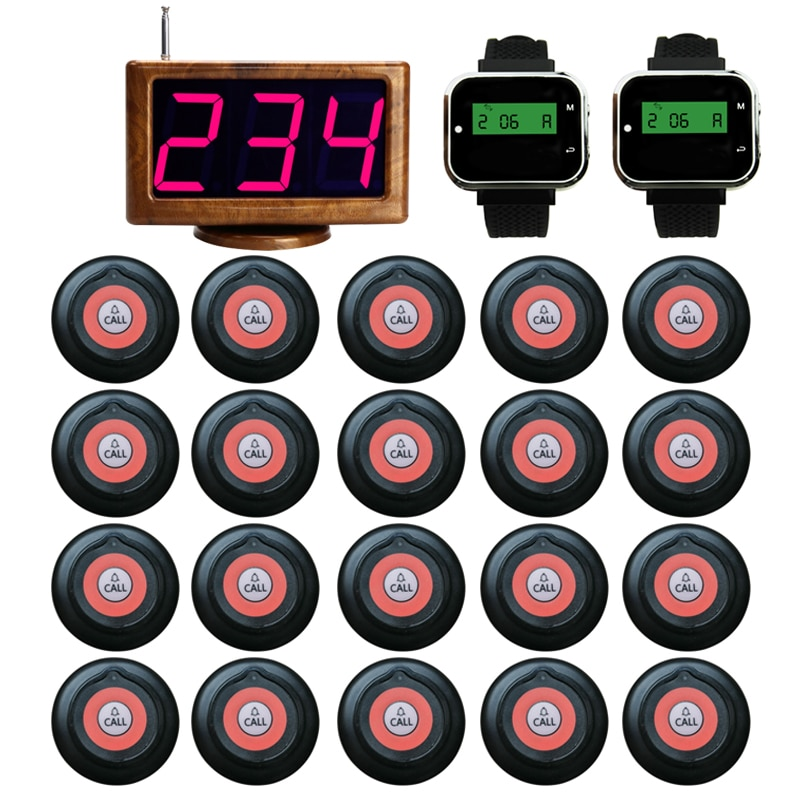 Wireless Restaurant Equipments 20 Staff Call Button +2 Watches Pager+1 LED Host Screen Display Receiver For Full Table Service