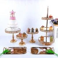 gold cake stand set crystal cupcake tray cake tools home decoration dessert table decorating party wedding display