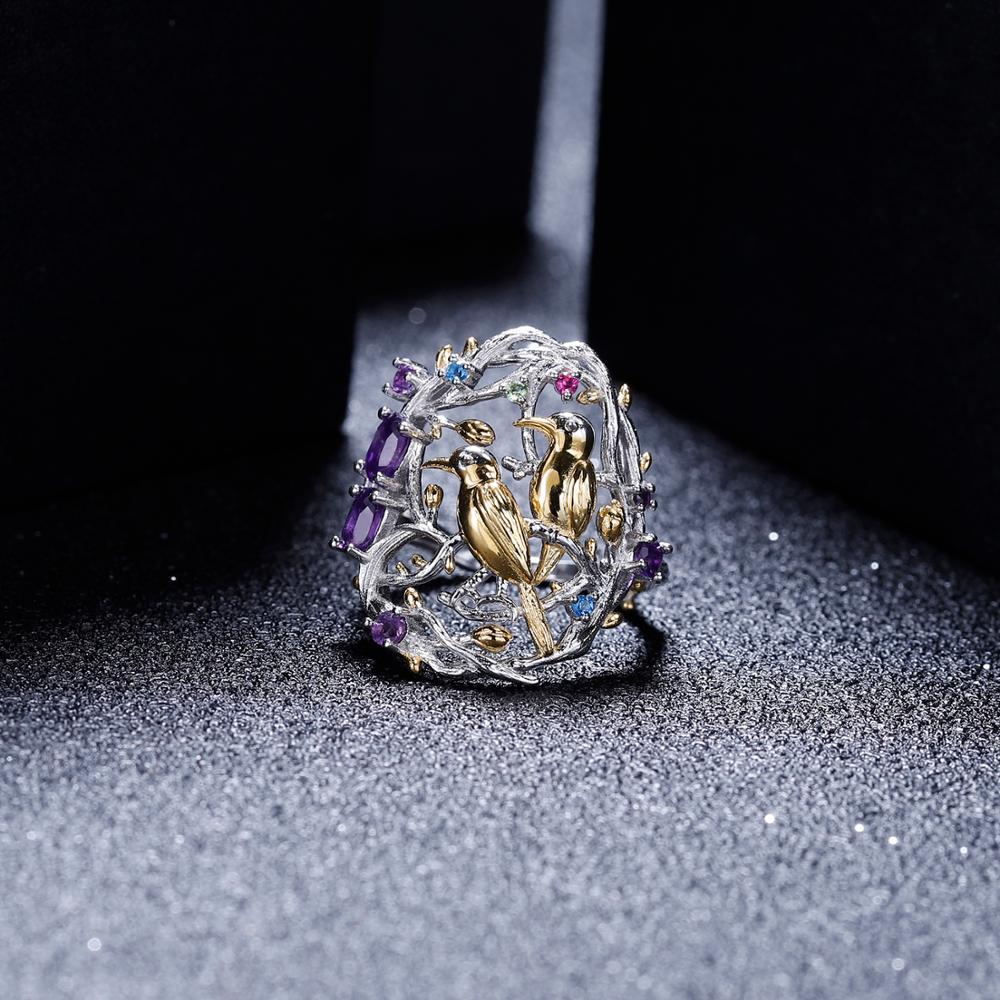 Gemas amatista de BALLET Natural de GEMS, anillo de cóctel para mujer de Plata de Ley 925, ramas hechas a mano, joyería fina de jardín ocupado