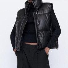 Black Parka Vest Women's Waistcoat Winter Jacket Sleeveless Vest Stand Collar Adjustable Hem PU Leat