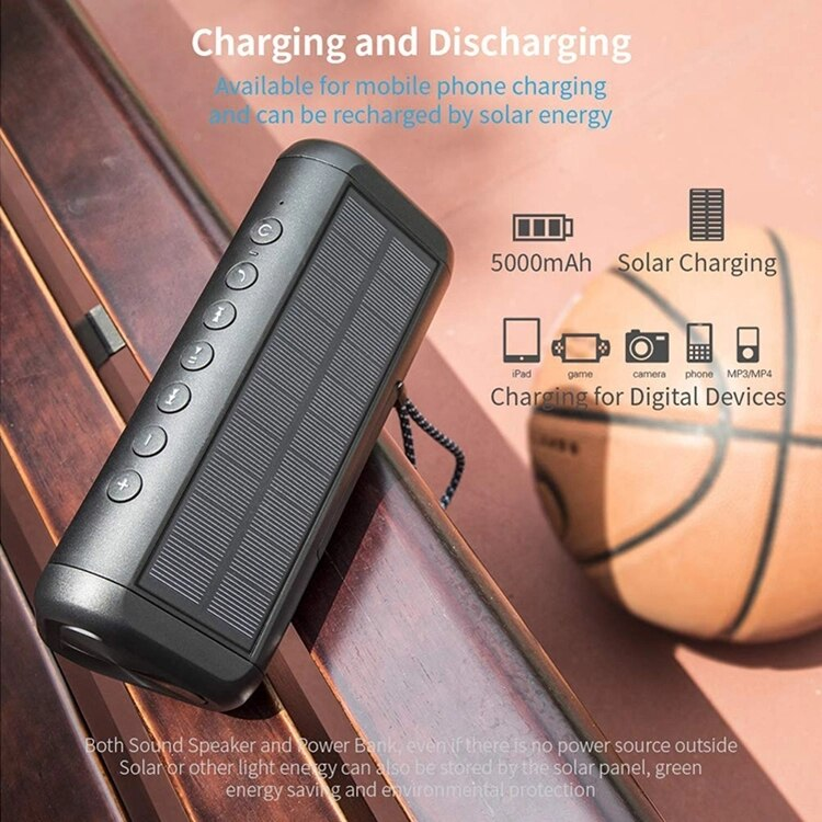 12W Portable wireless bluetooth speaker Stereo subwoofer Outdoor waterproof Speaker With 5000 mAh solar Charging power bank AUX enlarge