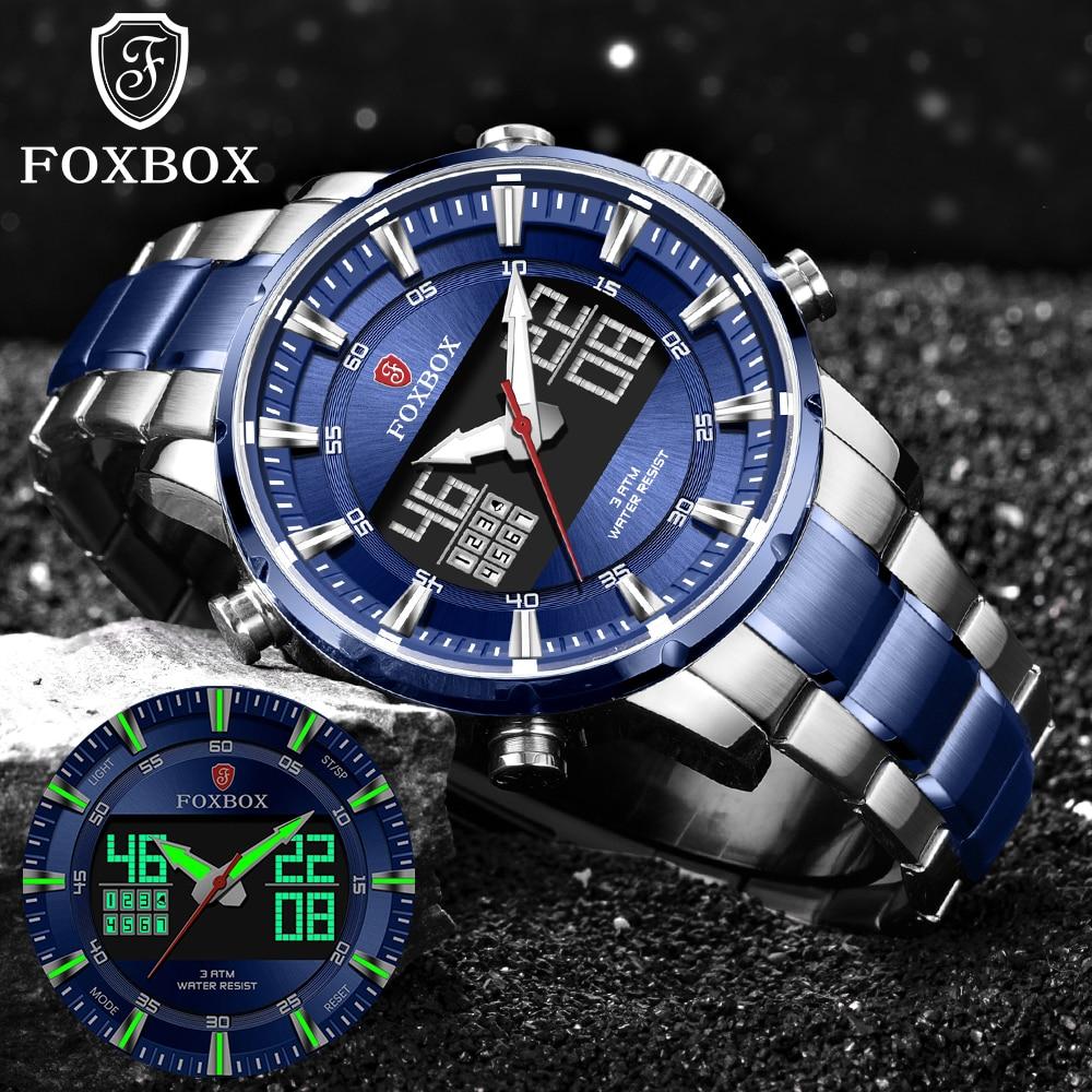 LIGE Luxury Brand Man Watch Sport Quartz Clock Military LED Digital Chronograph Watches Men 316L Sta