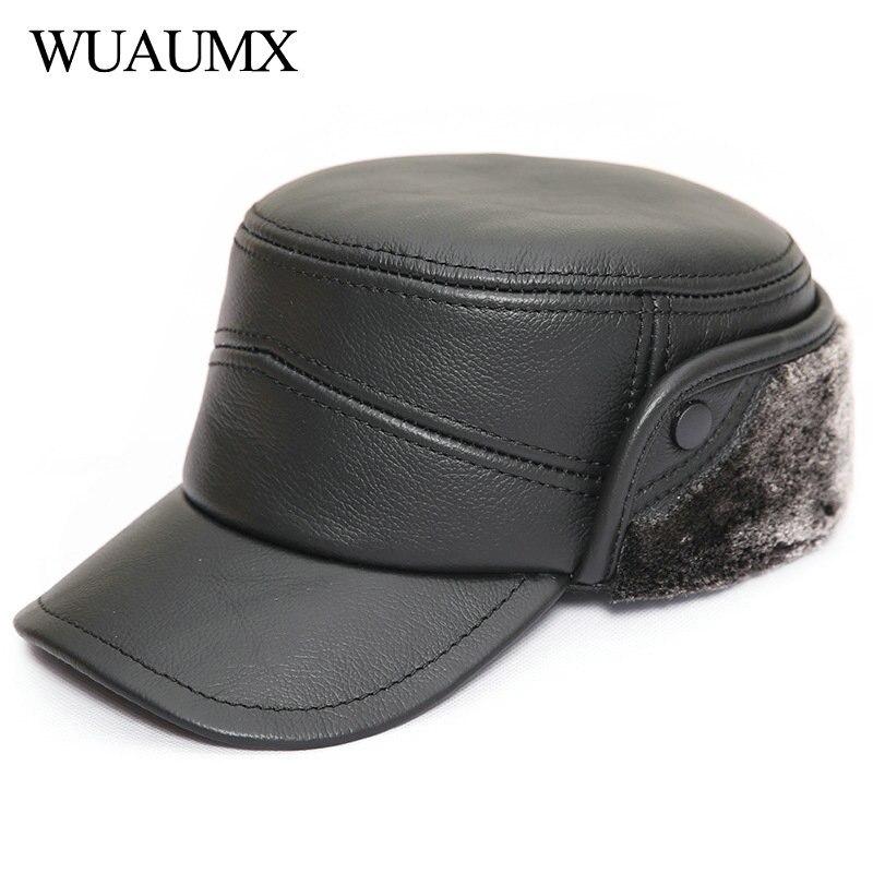 بسيطة حقيقية جلد البقر القبعات العسكرية الرجال الشتاء القبعات الجلدية مع قبعة إيرفلاب كاوبسكين مع بطانة زائد المخملية قبعة بيسبول