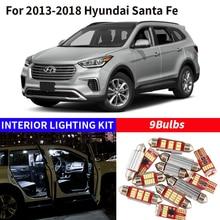 9 pçs branco lâmpada led carro luz interior kit para 2013-2018 hyundai santa fe mapa cúpula tronco caixa de luva lâmpada