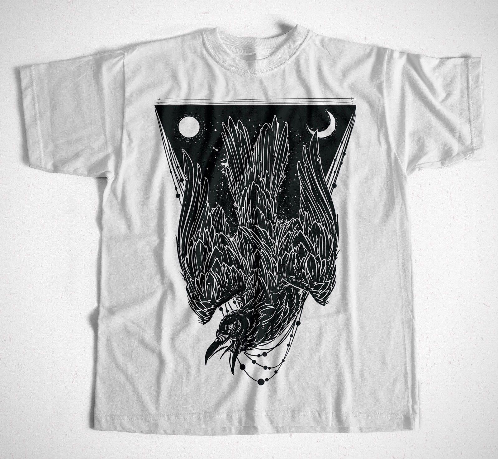 Camiseta de Manga corta de algodón con estampado de cuervo S-XXXL Rabe Vogel Hipster Streetwear Mond Hexe Goth Manga 100% para hombre