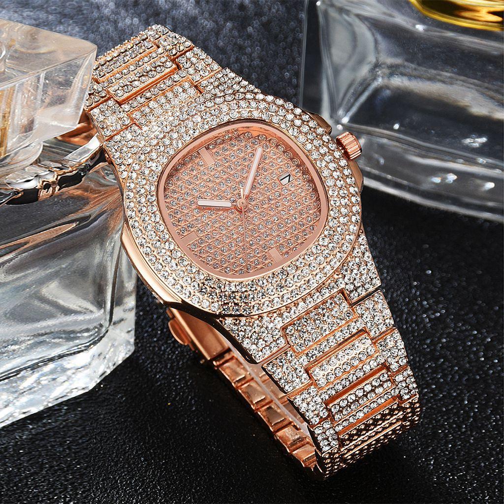 2020 mode Frauen Rose Gold Uhren Luxus Stahl Strass Quarz Uhr Damen Saat Voller Diamanten Uhr Relogio Feminino