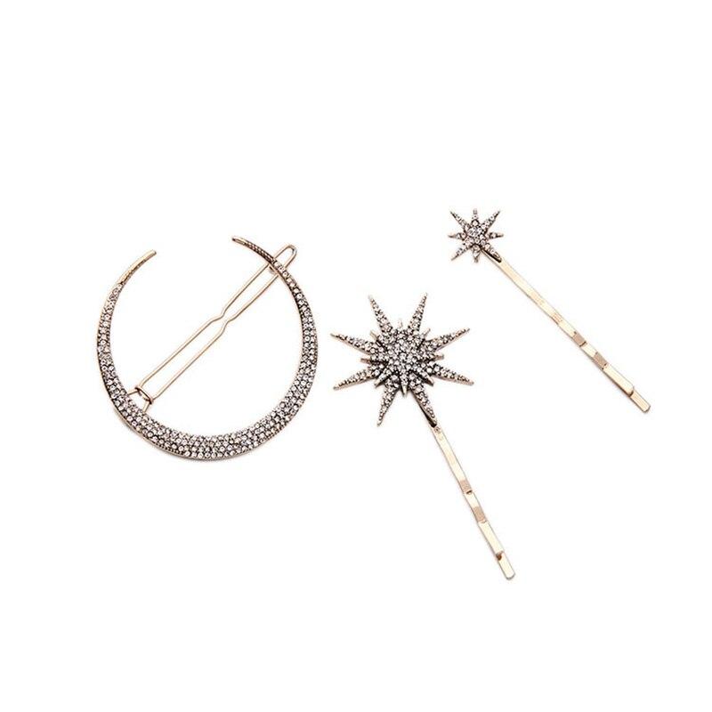 Pinza para el pelo de estrella geométrica, Luna, Diamante de imitación, de moda, accesorios para el cabello, pinza para el pelo para mujer, herramientas, adornos de joyas para el cabello