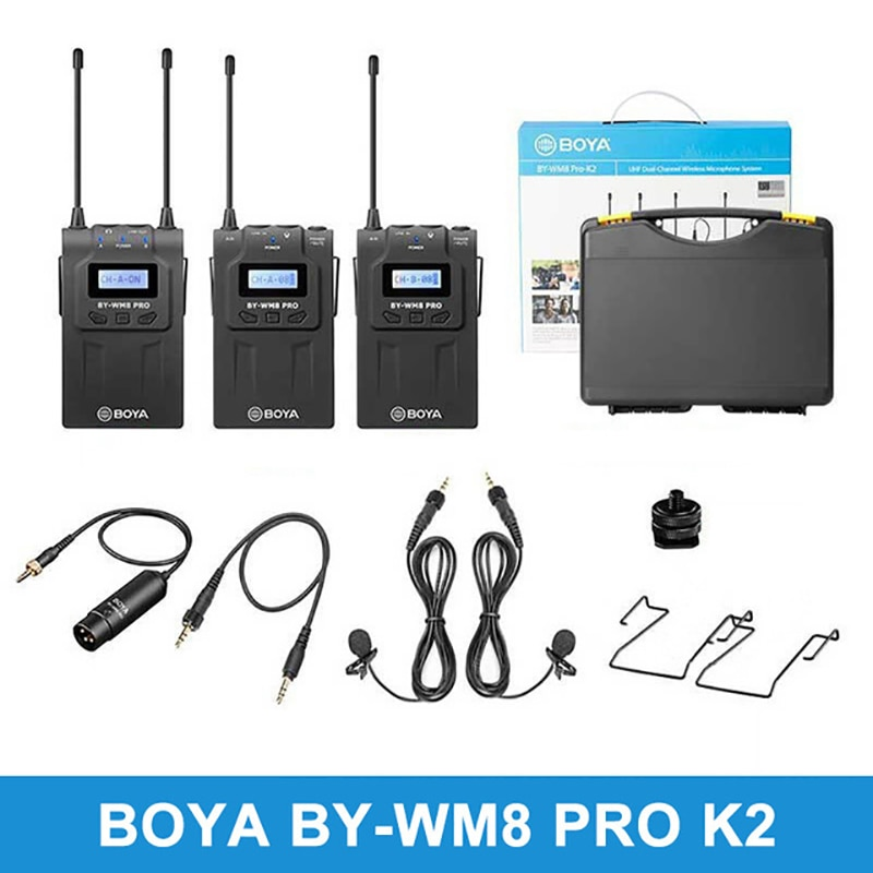 Promo BOYA BY WM8 Pro K7 K6 K5 K4 K3 K1 K2 UHF Dual Wireless Microphone system Interview Mic for iPhone for pc DSLR Video Camera