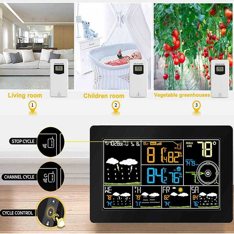 C/F Unit Smart Weather Station Monitor for Mobile Sensor WIFI APP Pressure Wind Speed Weather Forecast Next 4 Days