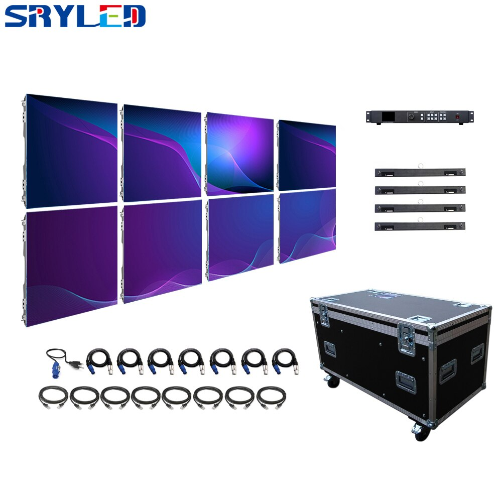 2*1m P3.91 Outdoor LED Display Screen Stage Wedding Rental LED Full Color Panel 8pcs 500*500mm Die-Casting Aluminum Cabinet