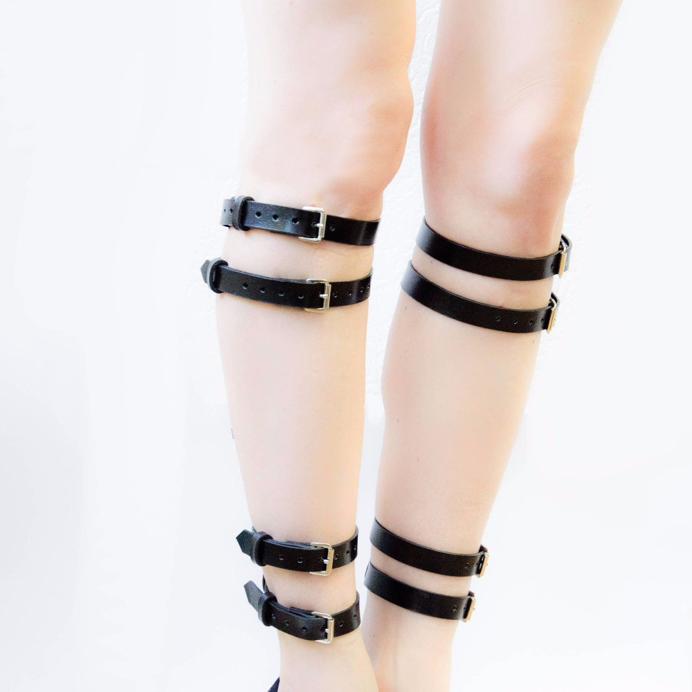 WKY tobillera conjunto de mujer Sexy Lencería caliente accesorios eróticos Bondage para pierna Arnés con correa de cuero ajustable Punk BDSM gótico fetiche desgaste