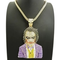 new trendy clown shape pendant necklace mens necklace fashion bohemian crystal inlaid clown pendant accessories party jewelry