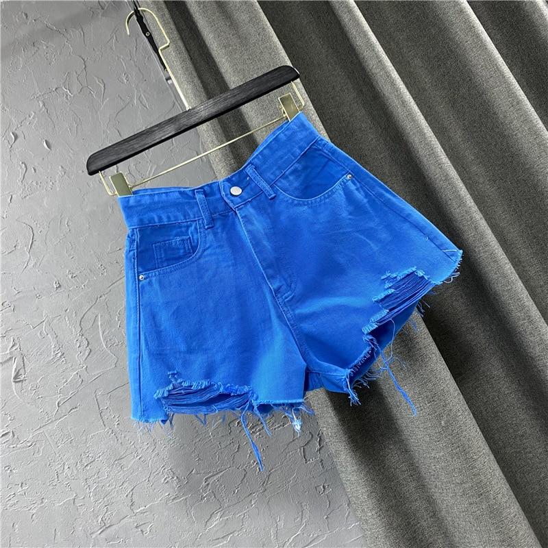 Candy color ripped denim shorts female high waist green A-line hot pants 2021 new summer Korean wide-leg pants