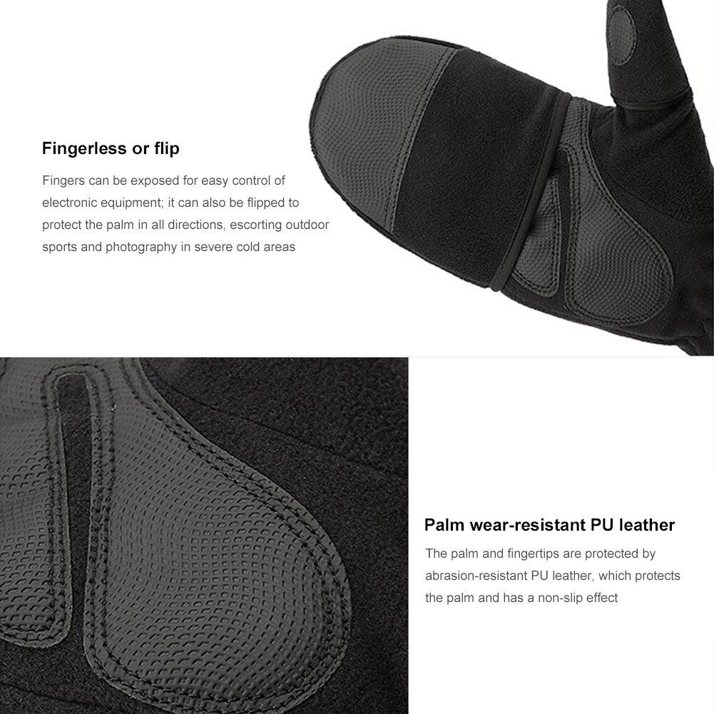 New 1Pair Fleece Convertible Flip Mittens for Men Women Outdoor Photography Fishing Fingerless Touchscreen Gloves enlarge