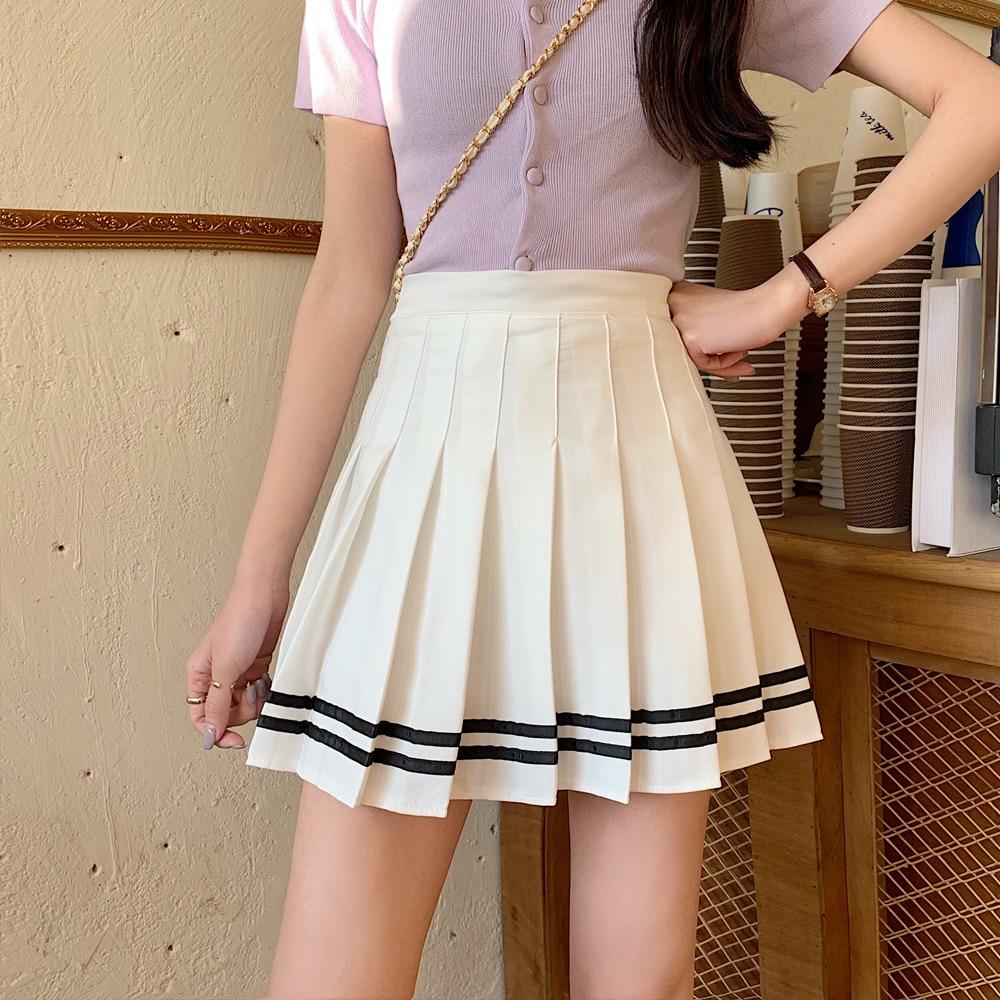elastic waist pleated skirt Korean  High Waist Women's Skirts Striped Pleated Skirt Elastic Waist Female Skirts Sweet Mini Skirts Dance Skirt Plaid Skirt