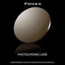FONEX-verres de lunettes 1.56 1.61 1.67   Prescription photochromique, résine asphérique, lentilles de lunettes pour la myopie, lentille de lunettes de soleil Lentes