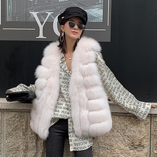 autumn and winter new imported whole leather short fox fur vest in the long section of the fur jacke