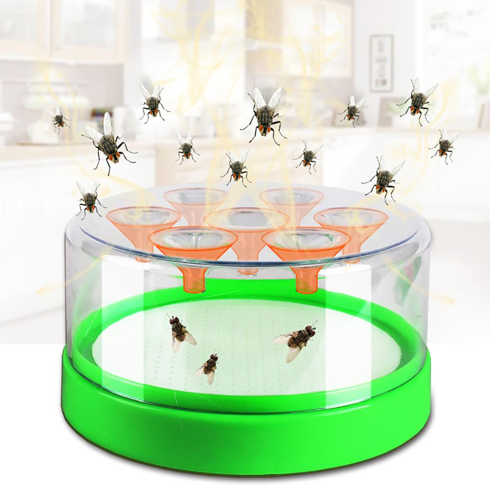 2021 Newest High Quality Reusable Clear Green Killing Fruit Fly Catcher Flies Killer Flying Attractants Trap Destroyer Table