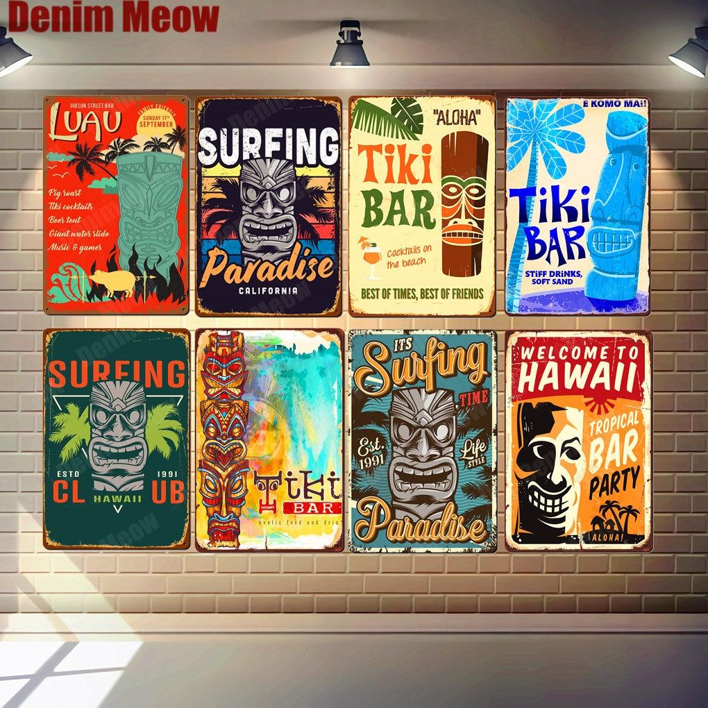 Welcome To HAWAII Plaque Beach Bar Vintage Metal Tin Signs Bar Pub Cafe Home Decor Wall Art Stickers Tiki Bar Poster N327