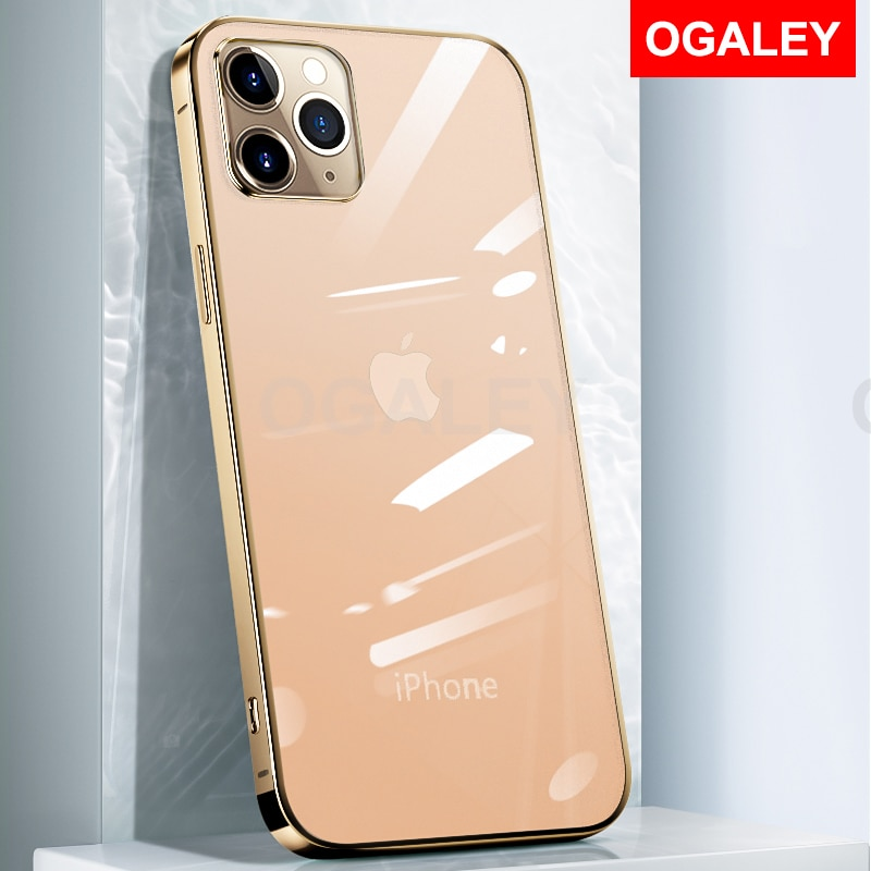 "Chapeamento caso para iphone 12 pro max iphone12 mini 5.4 ""caso para iphone 12pro max 6.7 6.1 caso capa de ouro clássico quadrado quadro"