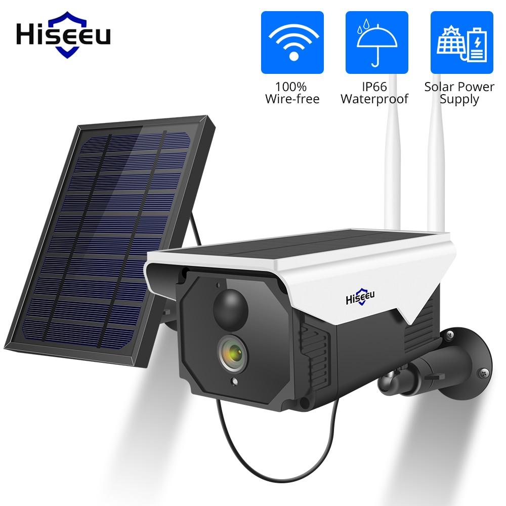 Hiseeu 1080P wifi батарея камера IP уличная перезаряжаемая Беспроводная ip-камера PIR Обнаружение Водонепроницаемая солнечная панель дистанционного ...