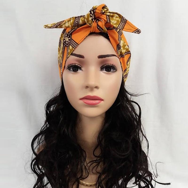Women Cotton Wax Print Long Hair band Head ties Accessories African Bazin Riche Ankara Ladies Boho Wraps Scarf Bandana Dashiki