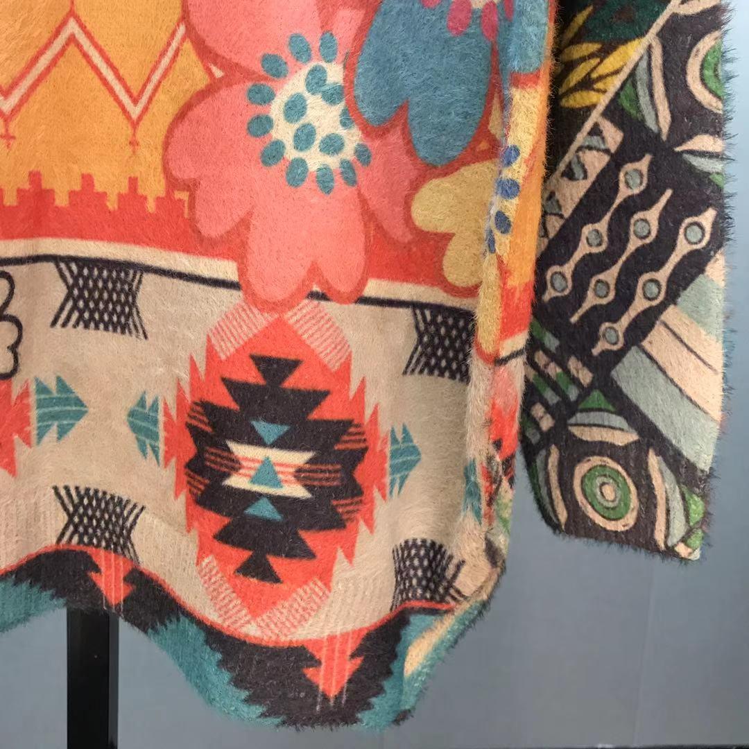 DUOFAN Rabbit Cartoon Print Sweaters Loose Soft Women O Neck Sweater Autumn Winter New Oversized Streetwear Jumper Knitted Tops enlarge