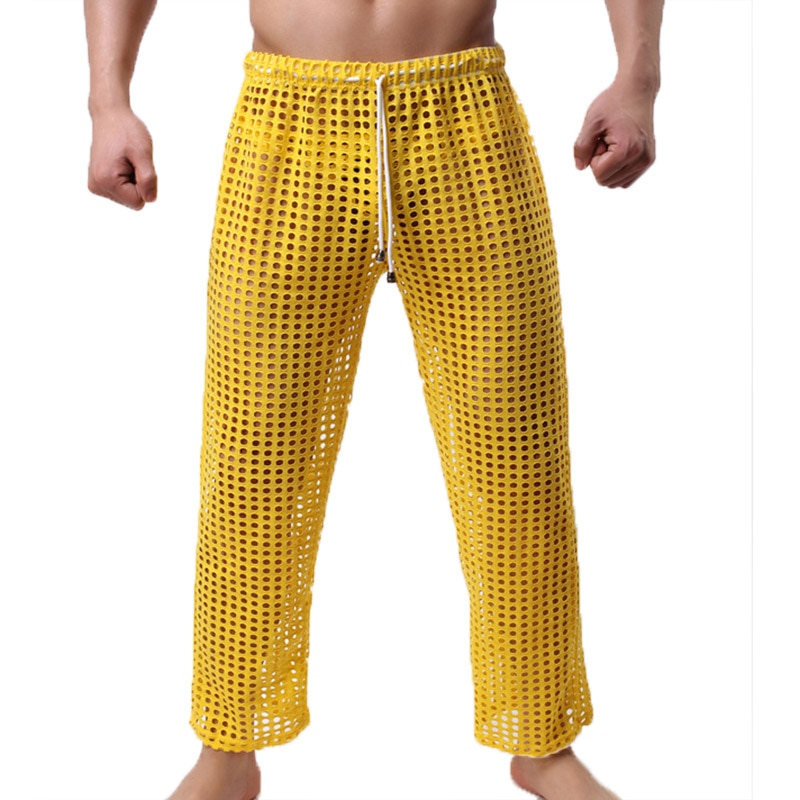 Sexy Mesh Men Sleep Bottoms Hollow Out Pyjamas Trousers Casual Breathable Homewear Lacing Sexy Home