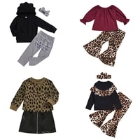 kids girl leopard pants printing clothing summer suit flared pants pattern solid color long sleeve