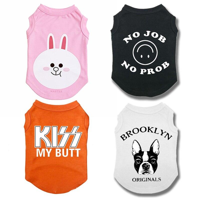 Carta impressão dos desenhos animados do cão roupas de verão para bulldog francês camisa do cão camiseta colete pet filhote de cachorro para pequenos animais médios ropa perro