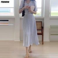 one piece women pleated summer dresses korean elegant french party office dress 2021 ladies fashion slim v neck dress midi dress