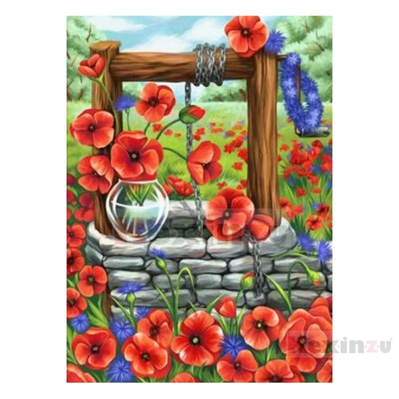 """Kexinzu 5d diy quadrado completo/redondo pintura diamante """"flor"""" bordado 3d ponto cruz artesanato trabalho decoração de casa presente x306"""