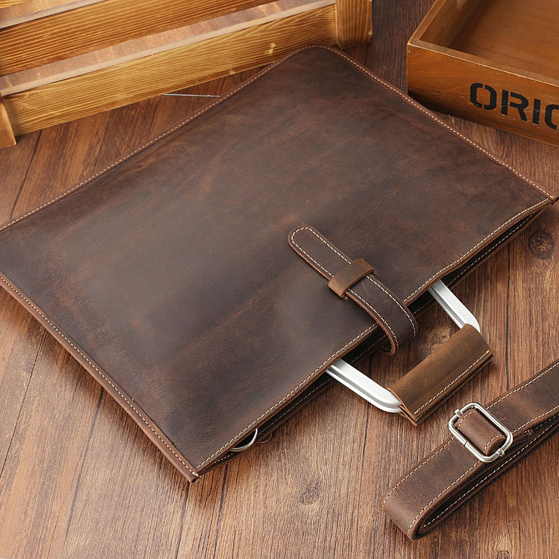 Bag for documents a4 brand Laptop Crazy horse leather briefcase for man vintage men genuine leather messenger bag business bags