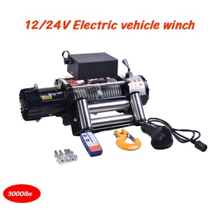 Vehicle Winch Car Winch 3000 Pounds 12V / 24V With Handle Control 3000 lbs Towing Cables Automobile Towing Tools