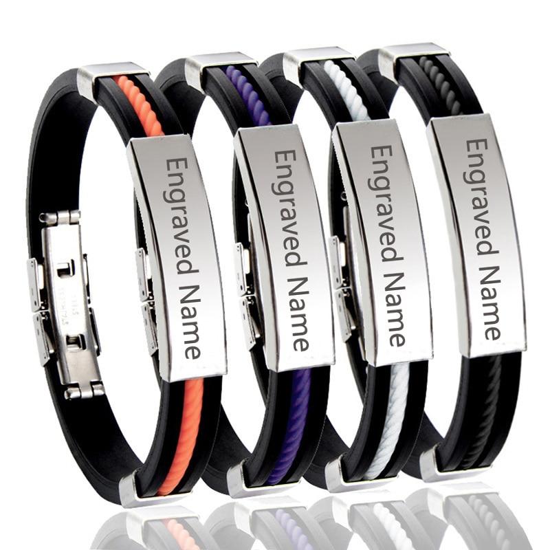 Brazalete de cuero lD, recipiente de regalo de acero grabado personalizado, nombre personalizado, iniciales, Monograma, joyería personalizada para hombres