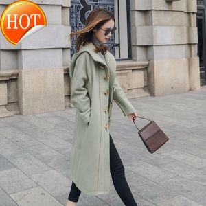 Fashion Women Long Wool Casual Blend Coat Loose Long Solid Cashmere Jacket Pockets Horn Buckle Ladies Coats