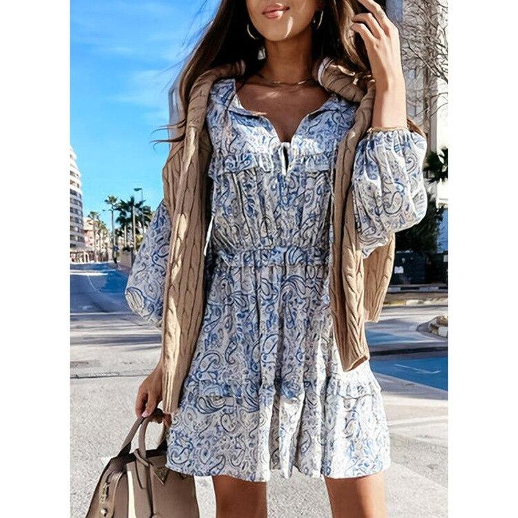 European and American women's summer dress women's casual temperament dress short skirt women