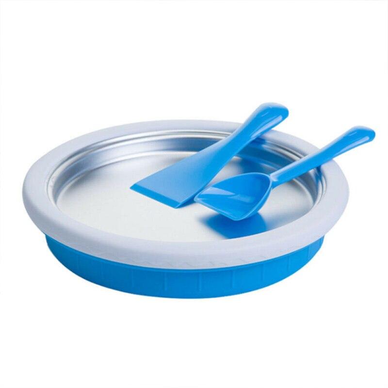 Non-Electronic Instant Ice Cream Maker Plate Fried Icecream Ice Roll Pan Machine freeze Yogurt (Blue)