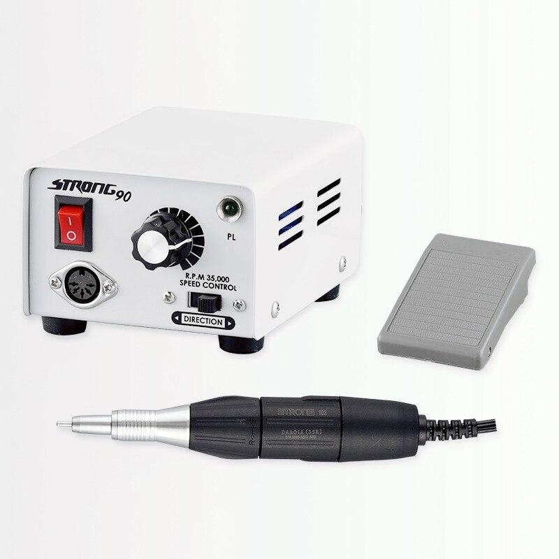 Caixa de Controle Lidar com Broca Elétrica do Prego Equipamento da Arte do Prego Forte 102 Manicure Pedicure Prego Arquivo Bit 65w 90 35000rpm 210