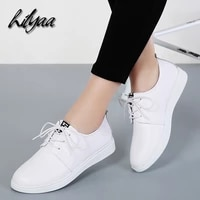 spring genuine leather woman white loafers female fashion sneakers autumn casual cowhide flats classical sneakers women loafers