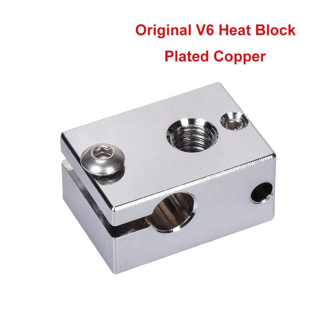 V6 Original chauffé bloc plaqué cuivre pour E3D V6 Hotend bloc chauffant V6 buse Silicone chaussette titan extrudeuse 3D imprimante pièces